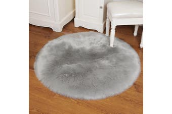 (diameter 90cm, Grey) - THEE Soft Round Artificial Sheepskin Rug Chair Cover Floor Mat Area Rugs Home Decor