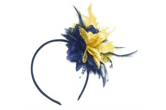 Caprilite Navy Blue and Gold Fascinator On Headband For Ascot Weddings
