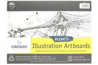 Canson Plein Air Illustration Smooth Art Board Pad for Ink, Markers and Pencils, 23cm x 30cm , Set of 10 Boards