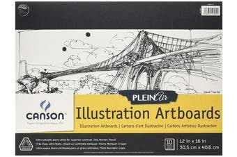 Canson Plein Air Illustration Smooth Art Board Pad for Ink, Markers and Pencils, 30cm x 41cm , Set of 10 Boards
