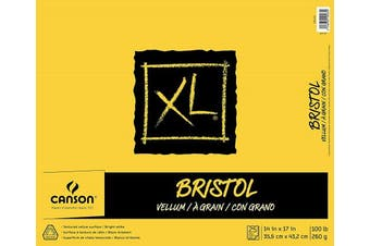 """(14"""" x 17"""" Fold Over) - Canson XL Series Bristol Vellum Paper Pad, Heavyweight Paper for Pencil, Vellum Finish, Fold Over, 45kg, 36cm x 43cm , Bright White, 25 Sheets"""