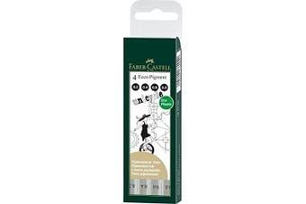 Faber-castell Ecco Pigment Fibre Tip Pen Wallet, 4 Black Pens (0.2, 0.4, 0.6 &