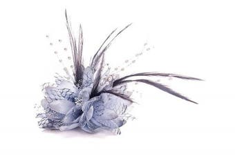 Ladies Beaded Feather Fascinator Clip, Hair Bobble and Brooch Pin (DARK GREY)