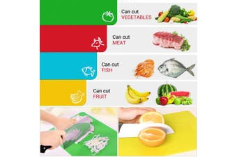 (Set of 4) - Extra Thick Flexible Plastic Kitchen Cutting Board Mats Set, Set of 4 Coloured Mats With Food Icons & Easy-Grip Handles, BPA-Free, Non-Porous, Dishwasher Safe By Olivivi