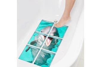 (Dolphin) - ChezMax Dolphin Pattern Bath Treads Sticker Safety Non Slip Bath Tub Tattoos Tub Stickers New Style Tub Decals Tub Appliques 6 Pcs 15cm X 15cm