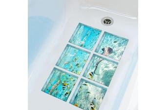 (The Underwater World) - ChezMax The Underwater World Bath Treads Sticker Safety Non Slip Bath Tub Tattoos Tub Stickers New Style Tub Decals Tub Appliques 6 Pcs 15cm X 15cm