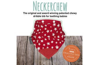 (Red Stars) - The Original Chewy Teething Bib : Super Absorbent Reversible Bandana Drool Bib For Teething Babies. Food-Grade Silicon Teethers are BPA and Phtalates-Free | Red Stars Neckerchew by CHEEKY CHOMPERS