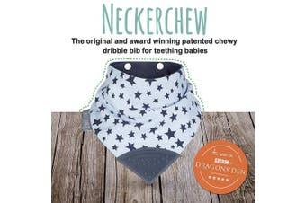 (Twinkle Twinkle) - Neckerchew Cheeky Chompers - Bandana Dribble Bib with Teething Chew - Twinkle Twinkle Design