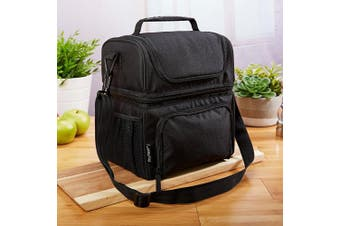 Fit & Fresh Premium Dual Compartment Lunch Bag for Adults, Insulated Double Decker Lunch Box for Men, Women & Kids, Black