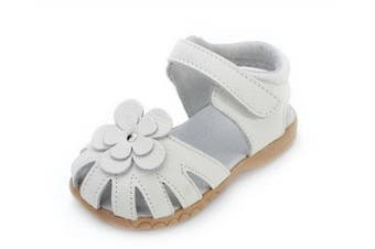 (UK 11 / insole length :17.5cm, White) - AILEESE Toddler Baby Little Kid Girl Genuine Leather Soft Closed Toe Fashion Beach Sandals Summer Shoes