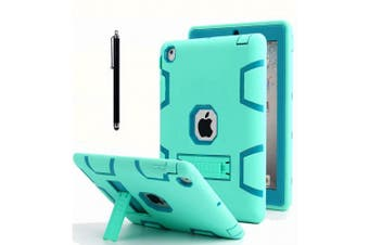 (Mint Blue+Green) - iPad 2 Case,iPad 3 Case,iPad 4 Case, AICase Kickstand Shockproof Heavy Duty Rubber High Impact Resistant Rugged Hybrid Three Layer Armour Protective Case with Stylus for iPad 2/3/4 (Mint Blue+Green)