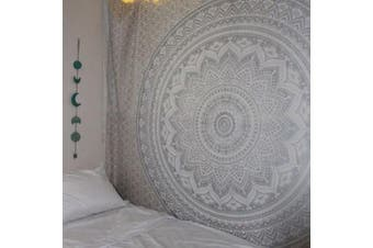 (59W×59L, Grey) - Popular Indian Hippie Mandala BlueTapestry Multi-Purpose Decorative Wall Hanging,Wall Tapestry (59W×59L, Grey)