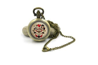 (Bronze) - Sailor Jerry Pocket Watch Necklace| Rockabilly Pocket Watch| Sailor Jerry| Retro Necklace| Pinup Necklace| gift for her| gift for wife