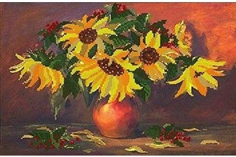 Bead Embroidery kit Sunflowers Beaded stitching Floral Pattern Needlepoint Handcraft Tapestry kit