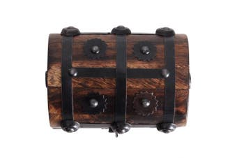 (Rustic S) - Brynnberg - Pirate Treasure Chest Storage Box - Durable Wood & Metal Construction - Unique, Handmade Vintage Design With A Front Lock - Striking Decorative Element - The Best Gift (Rustic S)