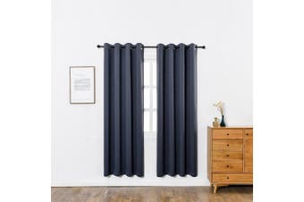 (W52 x L84, Navy Blue) - Anjee Light Blocking Blackout Curtains Valance - Thermal Insulated Solid Rod Pocket Blackout Draperies/Panels for Bedroom (One Pair,130cm by 210cm , Navy Blue)