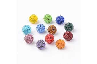 (Multi-color) - Beadthoven 100pcs 10mm Multi-Colour Glass Rhinestone Clay Pave Round Beads Disco Crystal Shamballa Beading Charms for Jewellery Crafts Making Creative Handmade Home Decoration Accessoies Supplies