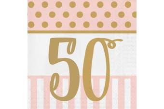 Pink Chic 50 Birthday Lunch Napkins