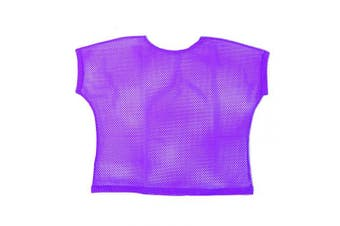 (Women: 14-16, Purple) - BFD One Ladies Neon '80s Mesh Fishnet Top Loose Fit Medium Large and XL In Neon Pink, Orange, Yellow, Blue, Purple and Black. Wash In Cold Water. 1980s Rave T Shirt Punk Rock Fancy Dress