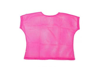 (Women: 14-16, Neon Pink) - BFD One Ladies Neon '80s Mesh Fishnet Top Loose Fit Medium Large and XL In Neon Pink, Orange, Yellow, Blue, Purple and Black. Wash In Cold Water. 1980s Rave T Shirt Punk Rock Fancy Dress