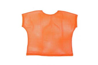 (Women: 14-16, Orange) - BFD One Ladies Neon '80s Mesh Fishnet Top Loose Fit Medium Large and XL In Neon Pink, Orange, Yellow, Blue, Purple and Black. Wash In Cold Water. 1980s Rave T Shirt Punk Rock Fancy Dress