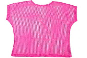 (Women: 10-12, Pink) - BFD One Ladies Neon '80s Mesh Fishnet Top Loose Fit Medium Large and XL In Neon Pink, Orange, Yellow, Blue, Purple and Black. Wash In Cold Water. 1980s Rave T Shirt Punk Rock Fancy Dress