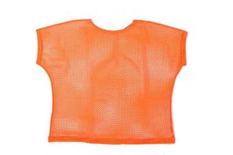 (Women: 8-10, Orange) - BFD One Ladies Neon '80s Mesh Fishnet Top Loose Fit Medium Large and XL In Neon Pink, Orange, Yellow, Blue, Purple and Black. Wash In Cold Water. 1980s Rave T Shirt Punk Rock Fancy Dress