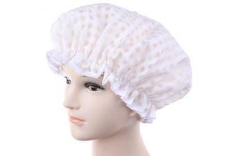 (white) - ADFEN Waterproof Shower Cap Double Layer Bath Shower Cap Elastic Band Bath Cap (white)