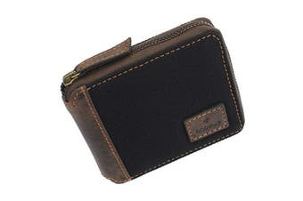 (Khaki) - Mala CACTUS Collection Canvas Zip Around Wallet With RFID Protection 189_81 Khaki