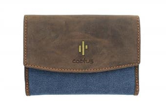 (Denim) - Mala Leather CACTUS Collection Canvas Purse With RFID Protection 3426_81 Denim