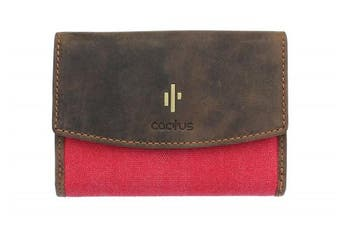 (Red) - Mala Leather CACTUS Collection Canvas Purse With RFID Protection 3426_81 Red