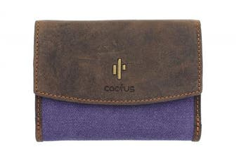 (Purple) - Mala Leather CACTUS Collection Canvas Purse With RFID Protection 3426_81 Purple