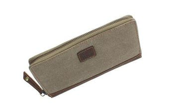 (Khaki) - CACTUS Zip Around Canvas Purse With Leather Trim And RFID Protection 3320_81 Khaki
