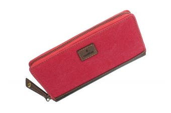 (Red) - CACTUS Zip Around Canvas Purse With Leather Trim And RFID Protection 3320_81 Red