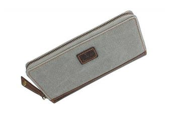 (Grey) - CACTUS Zip Around Canvas Purse With Leather Trim And RFID Protection 3320_81 Grey