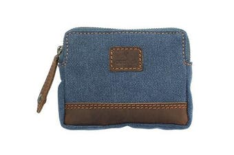 (Denim) - CACTUS Canvas Coin Purse With Leather Trim And RFID Protection 4139_81 Denim