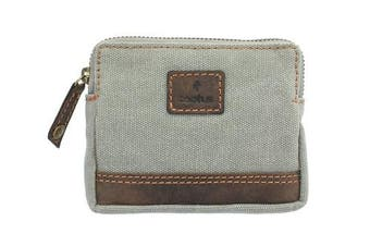(Grey) - CACTUS Canvas Coin Purse With Leather Trim And RFID Protection 4139_81 Grey