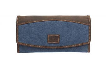 (Denim) - CACTUS Canvas Purse With Leather Trim And RFID Protection 3319_81 Denim