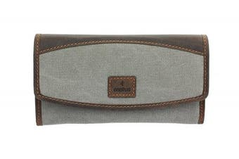 (Grey) - CACTUS Canvas Purse With Leather Trim And RFID Protection 3319_81 Grey