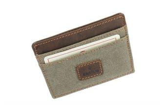 (Khaki) - CACTUS Slim Canvas Card Holder With Leather Trim And RFID Protection 625_81 Khaki