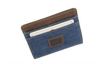 (Denim) - CACTUS Slim Canvas Card Holder With Leather Trim And RFID Protection 625_81 Denim