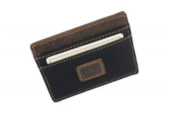 (Black) - CACTUS Slim Canvas Card Holder With Leather Trim And RFID Protection 625_81 Black