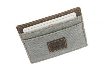 (Grey) - CACTUS Slim Canvas Card Holder With Leather Trim And RFID Protection 625_81 Grey