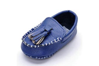 (6-12 Months, Blue Tassels) - Lidiano Infant Baby PU Leather Soft Sole Moccasins Flat Loafers Sneakers 0-18 Months (6-12 Months, Blue Tassels)