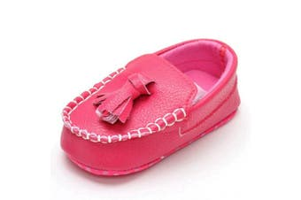 (6-12 Months, Rose Tassels) - Lidiano Infant Baby PU Leather Soft Sole Moccasins Flat Loafers Sneakers 0-18 Months (6-12 Months, Rose Tassels)