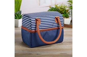Fit & Fresh Ivy Insulated Dual Compartment Lunch Bag, Classic, All-Purpose Bag for Adults and Kids, Navy Nautical Stripe