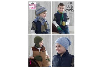 King Cole 5202 Knitting Pattern Boys Hats Scarves Gloves and Mittens in Riot DK & New Magnum Chunky