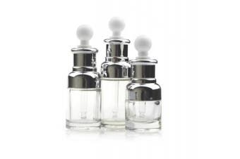 (50ml, Silver) - 1PCS 50ML Empty Refillable Upscale Clear Glass Bottle Aromatherapy Perfume Essential Oil Elite Fluid Cosmetic Jar Pot Container Vial with Glass Pipette Eye Dropper (50ml, Silver)