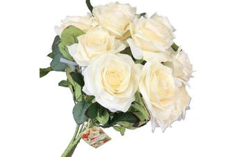 (Dl104-ivo) - DALAMODA Ivory 2 Bundles 20 heads Rose Flower Bouquet, for DIY any Decoration Artificial Silk Flower