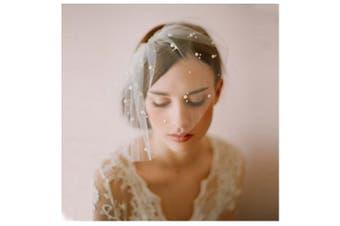 (42cm  x 27cm ) - Auch Bridal Wedding Veils Short with Comb, bridal birdcage bridal veil ivory with created diamonds